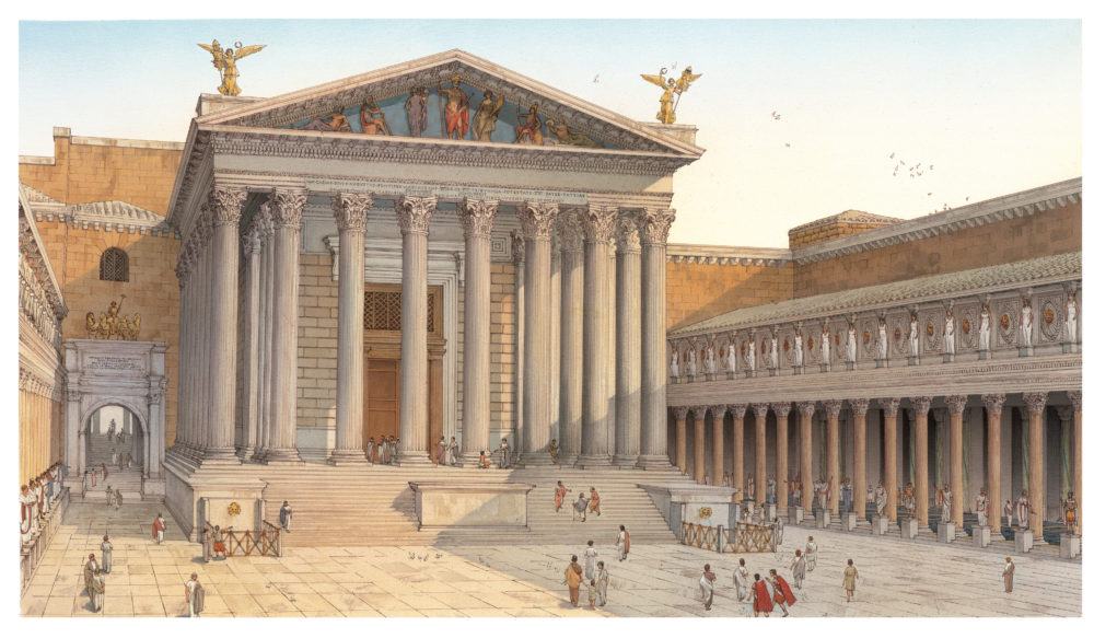 Reconstructive view of the Forum of Augustus with the Temple of Mars Ultor