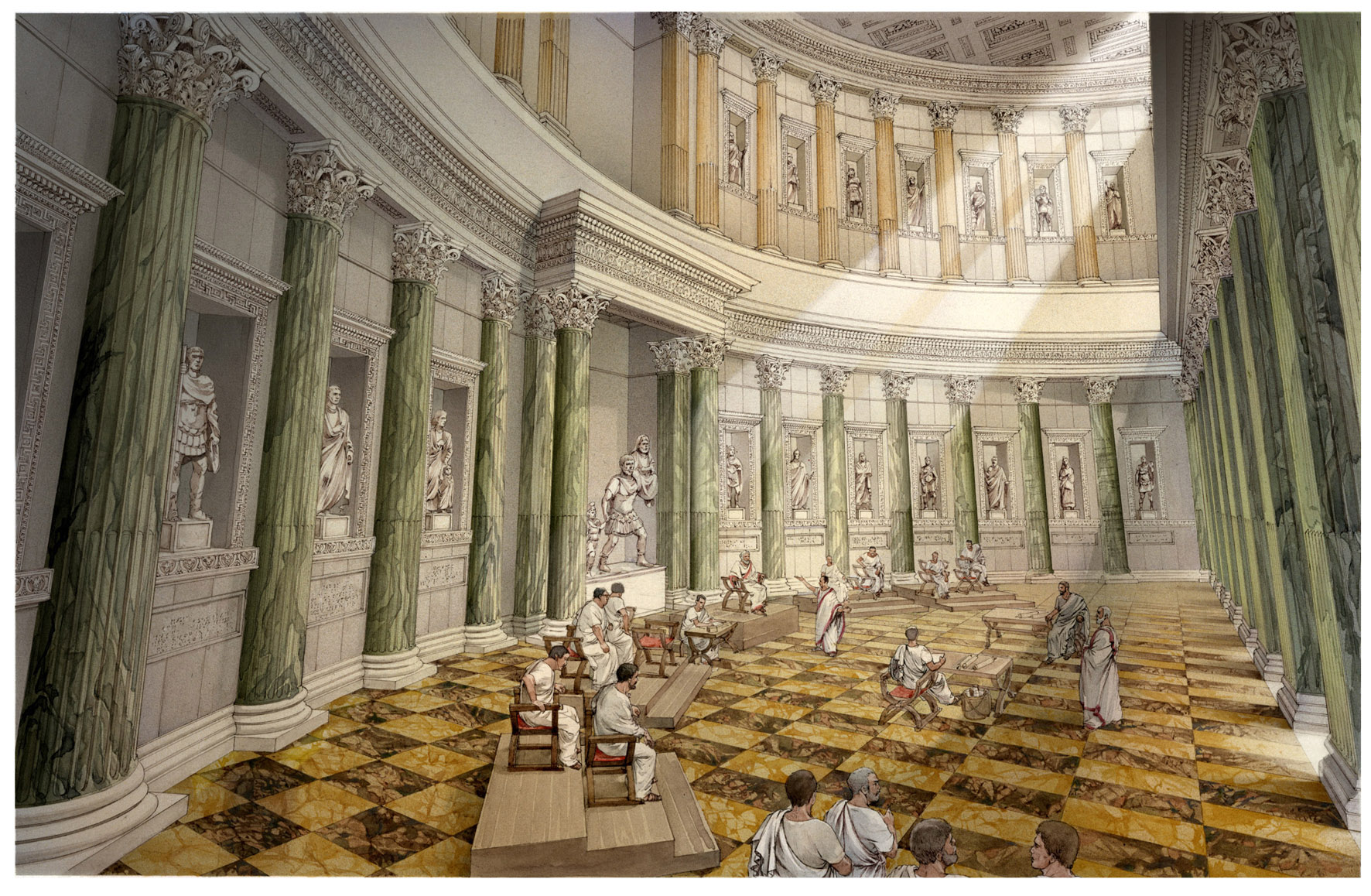 Recontructive view of an exedra in the Forum of Augustus, with a trial scene
