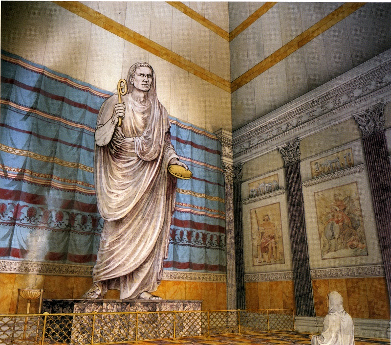 The Hall of the Colossus with the statue of the Genius of Augustus