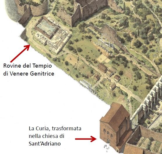 Veduta ricostruttiva del Foro di Cesare nel X secolo
