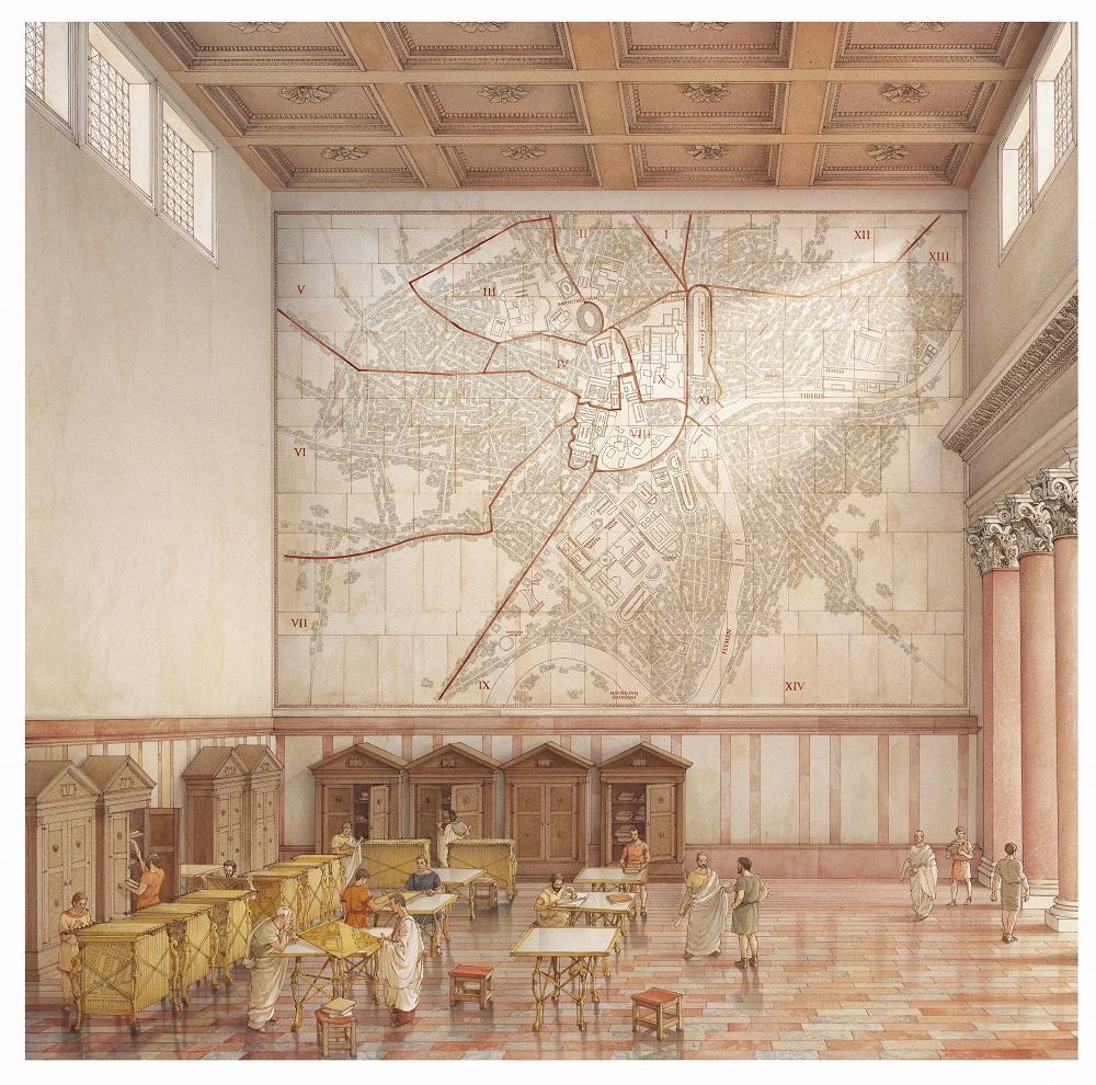 Aula della Forma Urbis Romae. La pianta è affissa alla parete