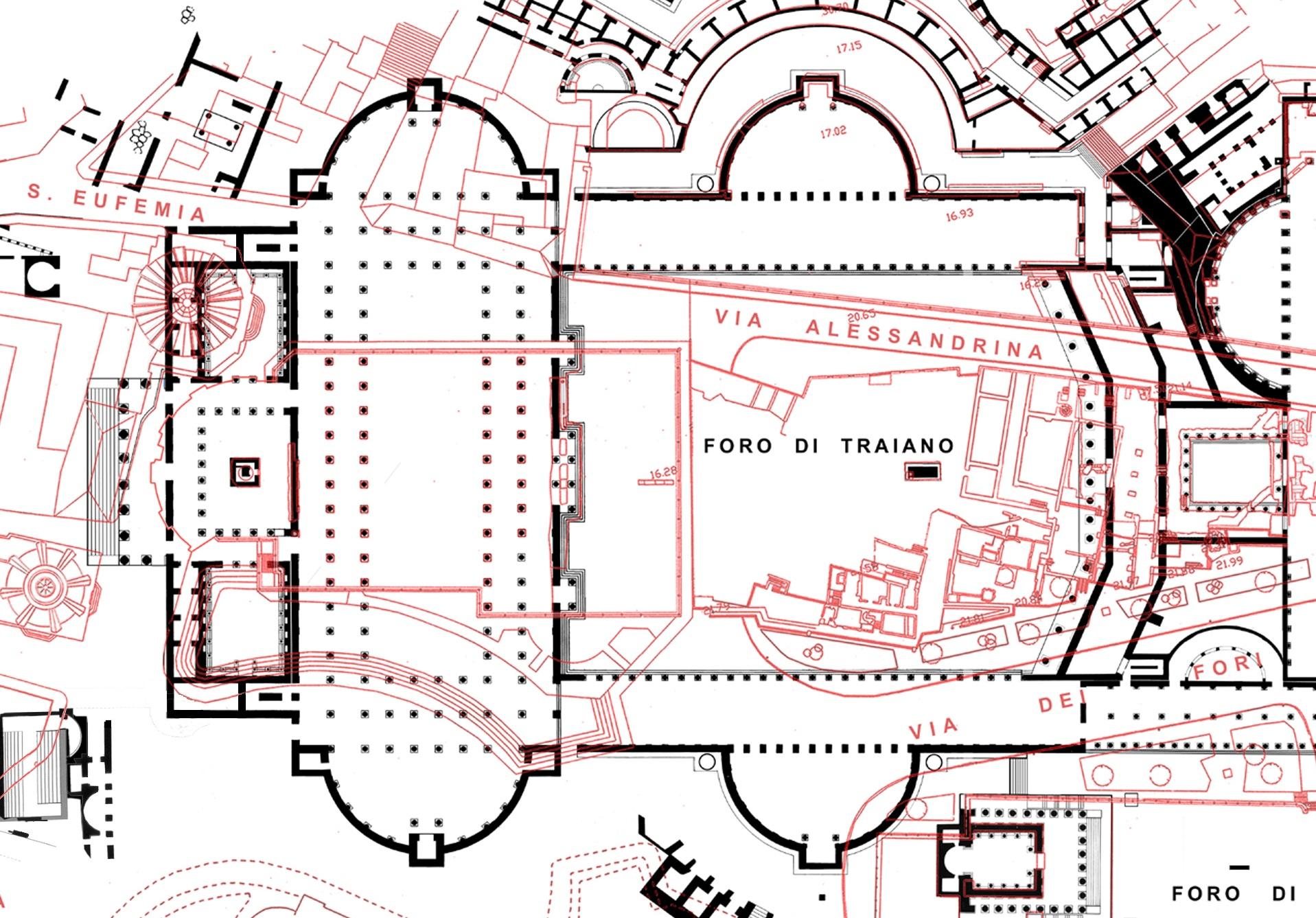 Pianta del Foro di Traiano. In nero: le strutture antiche. In rosso: le strutture e la viabilità moderne