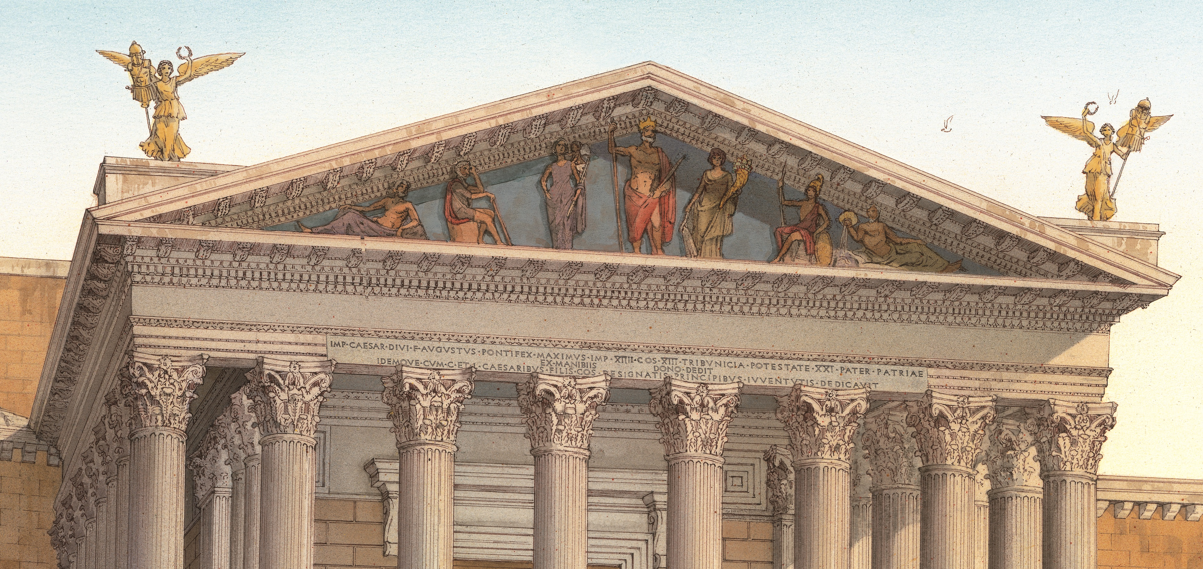 Reconstructive view of the pediment of the Temple of Mars Ultor