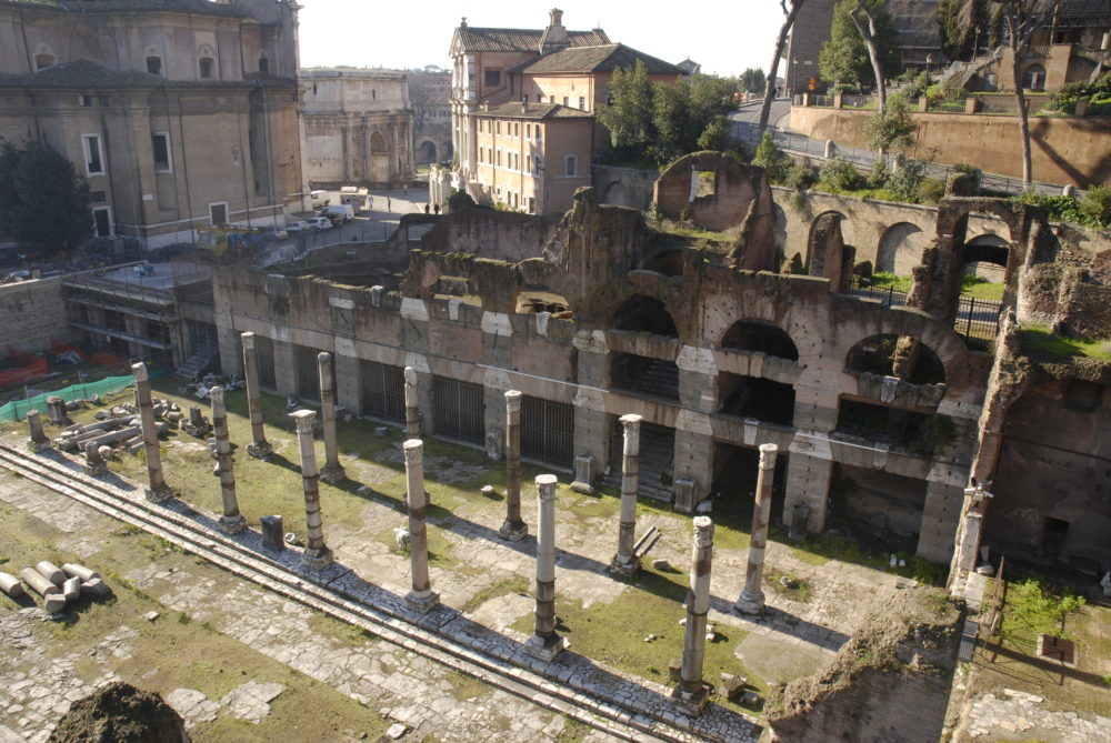 Eastern colonnade of the Forum of Caesar with the front of the tabernae