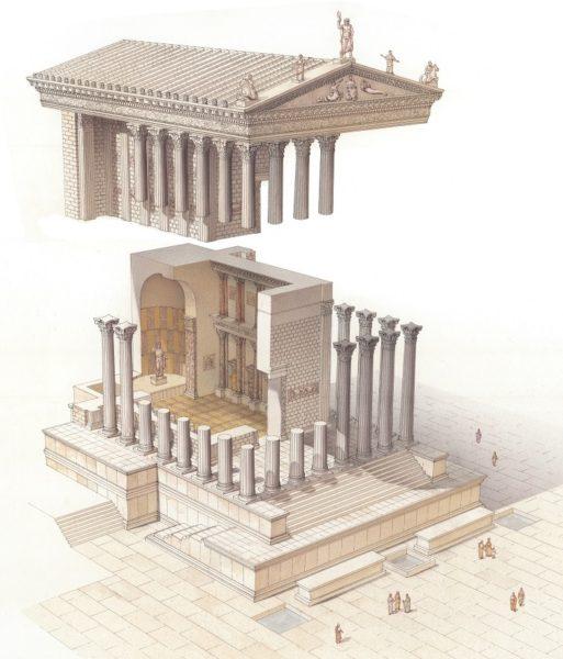 Veduta ricostruttiva del Tempio di Venere Genitrice in età traianea