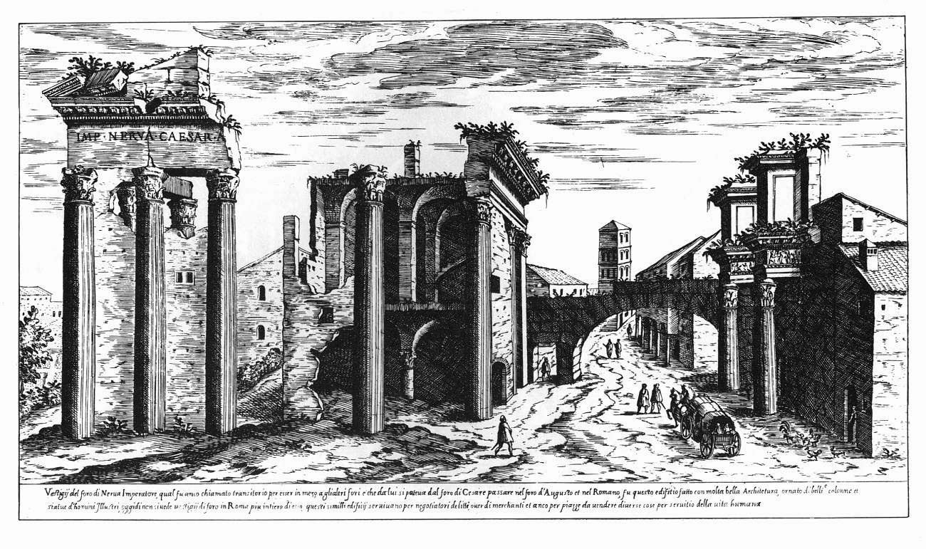 Etienne Dupérac, View of the Temple of Minerva and the so-called