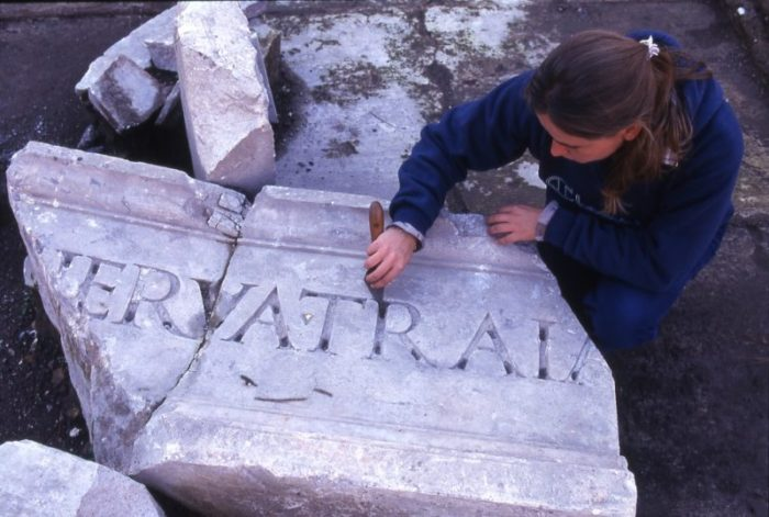 The fragment of the inscription with the name of Trajan during the excavation