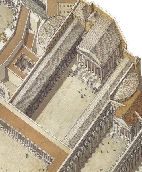 Veduta ricostruttiva del Foro di Augusto dopo la costruzione del Foro di Nerva (a destra) e del Foro di Traiano (a sinistra). Rimangono i due emicicli più a est