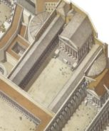 Reconstructive view of the Forum of Augustus after the construction of the Forum of Nerva (right) and Forum of Trajan (left)