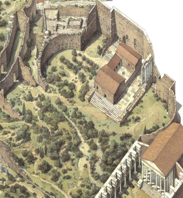 Veduta ricostruttiva del Foro di Augusto nel X secolo. Sul podio del tempio di Marte Ultore è già presente il Monastero di San Basilio