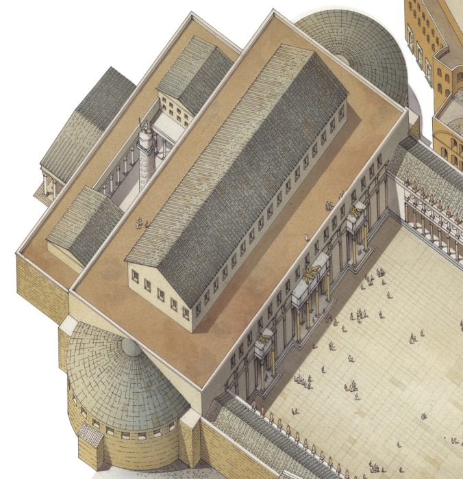 Veduta ricostruttiva della Basilica Ulpia. A destra la piazza del Foro; a sinistra il Cortile della Colonna Traiana