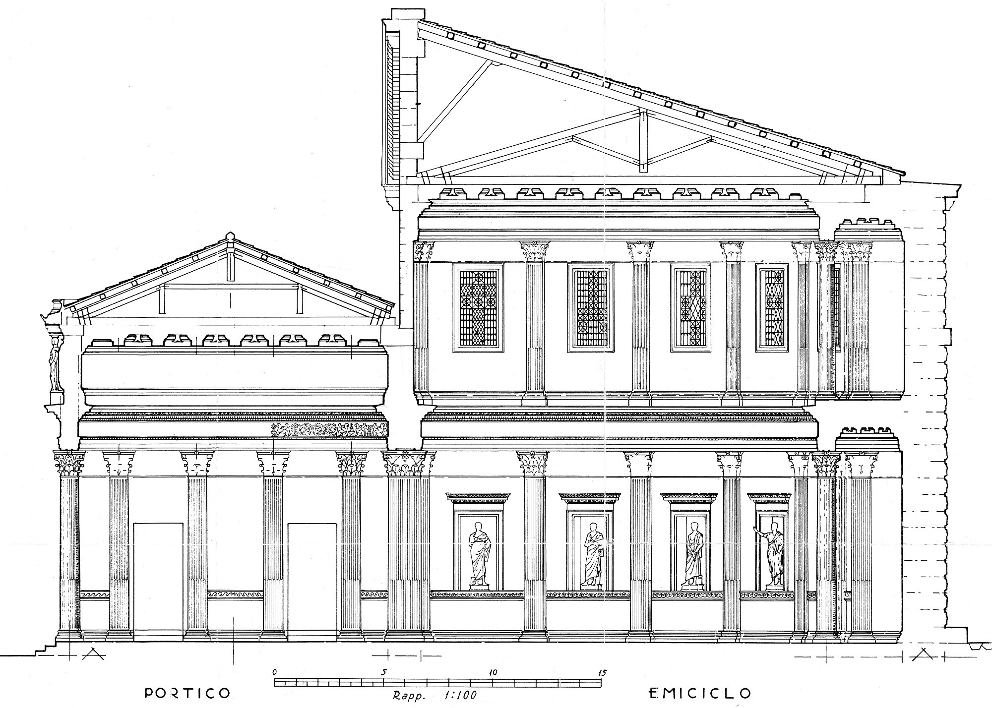 Reconstructive cross section of the hemicycle and the eastern portico of the Forum of Trajan (Italo Gismondi)