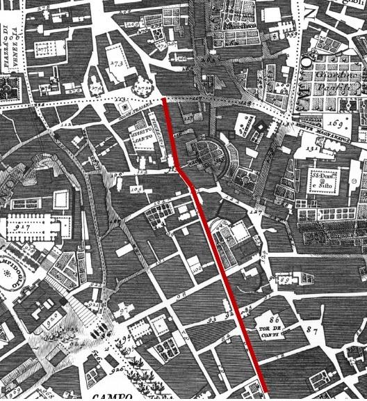 Il Quartiere Alessandrino nella Pianta di Roma di Giovan Battista Nolli - 1748. La linea rossa indica Via Aleassandrina
